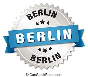 Berlin round silver badge with blue ribbon