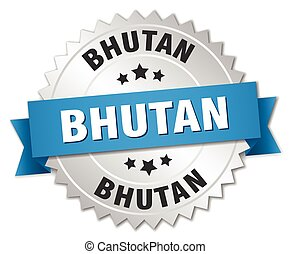 Bhutan round silver badge with blue ribbon
