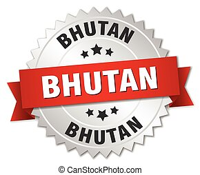Bhutan round silver badge with red ribbon