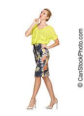 alto, modelo, em, amarela, blusa, isolado, ligado, branca,