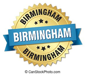 Birmingham round golden badge with blue ribbon
