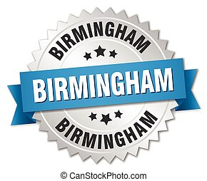 Birmingham round silver badge with blue ribbon