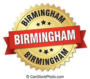 Birmingham round golden badge with red ribbon