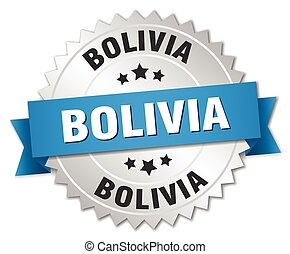 Bolivia round silver badge with blue ribbon