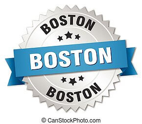 Boston round silver badge with blue ribbon