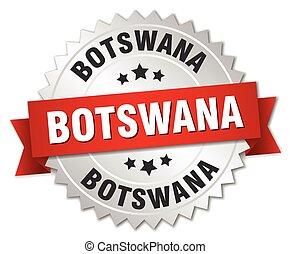 Botswana round silver badge with red ribbon - Botswana round...