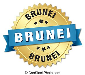 Brunei round golden badge with blue ribbon