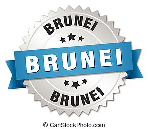 Brunei round silver badge with blue ribbon