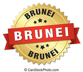 Brunei round golden badge with red ribbon