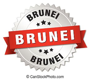 Brunei round silver badge with red ribbon - Brunei round...