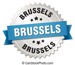Brussels round silver badge with blue ribbon