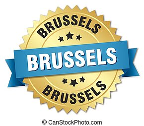 Brussels round golden badge with blue ribbon