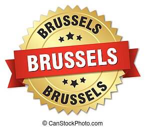Brussels round golden badge with red ribbon
