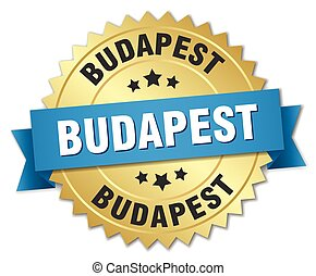 Budapest round golden badge with blue ribbon