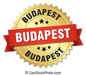 Budapest round golden badge with red ribbon