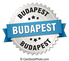 Budapest round silver badge with blue ribbon