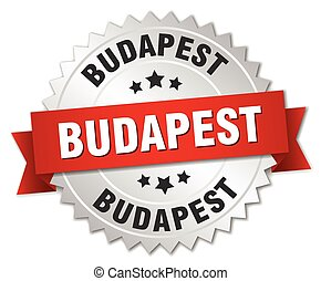 Budapest  round silver badge with red ribbon