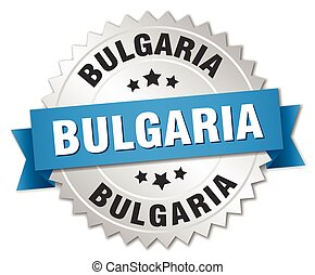 Bulgaria round silver badge with blue ribbon
