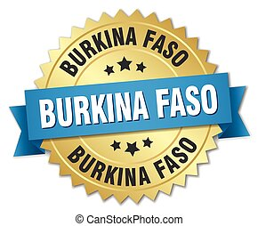 Burkina Faso round golden badge with blue ribbon