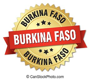 Burkina Faso round golden badge with red ribbon
