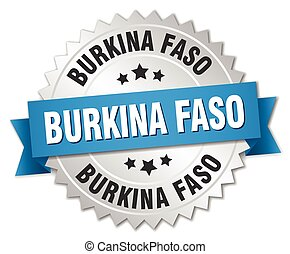 Burkina Faso round silver badge with blue ribbon