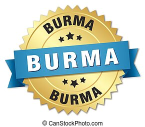 Burma round golden badge with blue ribbon