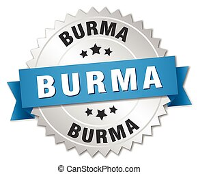 Burma round silver badge with blue ribbon