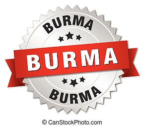 Burma  round silver badge with red ribbon