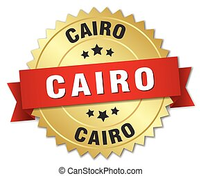 Cairo round golden badge with red ribbon