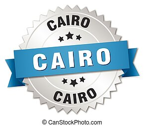 Cairo round silver badge with blue ribbon