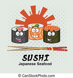 Sushi Roll Set Cartoon Characters