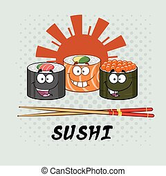 Sushi Roll Set Characters And Text