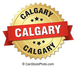 Calgary round golden badge with red ribbon