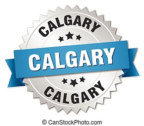 Calgary round silver badge with blue ribbon