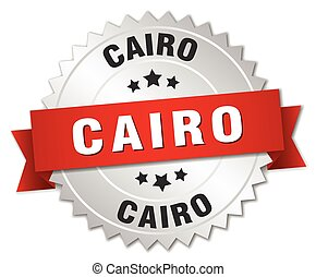 Cairo  round silver badge with red ribbon
