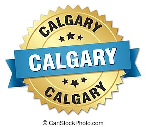 Calgary round golden badge with blue ribbon