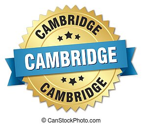 Cambridge round golden badge with blue ribbon