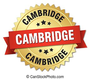 Cambridge round golden badge with red ribbon