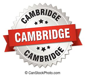 Cambridge round silver badge with red ribbon - Cambridge...
