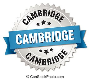 Cambridge round silver badge with blue ribbon