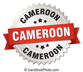 Cameroon round silver badge with red ribbon