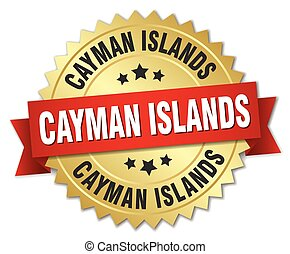 Cayman Islands round golden badge with red ribbon