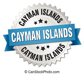 Cayman Islands round silver badge with blue ribbon
