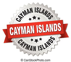 Cayman Islands round silver badge with red ribbon