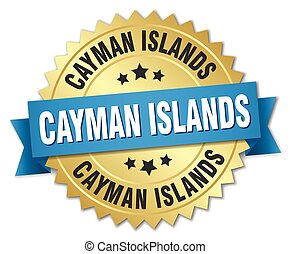 Cayman Islands round golden badge with blue ribbon