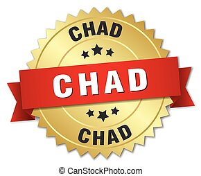 Chad round golden badge with red ribbon