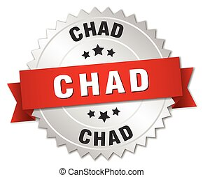 Chad round silver badge with red ribbon