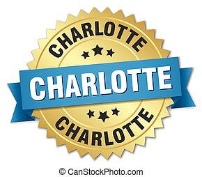 Charlotte round golden badge with blue ribbon