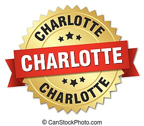 Charlotte round golden badge with red ribbon