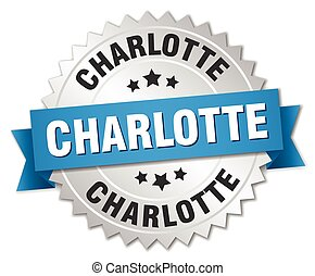 Charlotte round silver badge with blue ribbon